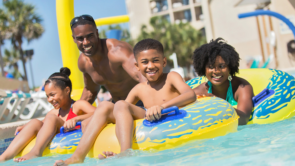 Beach Cove Resort Lazy River Tubes and Family